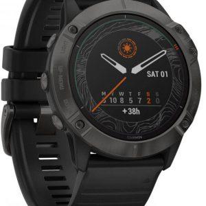 fēnix 6X PRO Solar- Titanium Carbon Gray DLC with Black Band