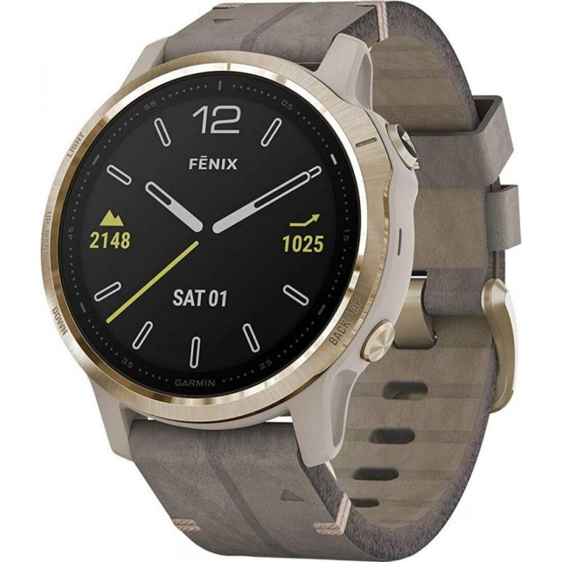fēnix 6S - Light Gold-tone with Shale Gray Leather Band