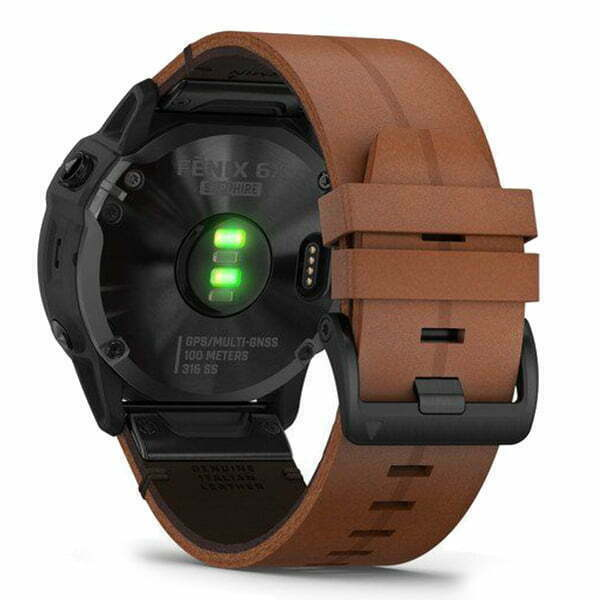 fēnix 6X - Black DLC with Chestnut Leather Band
